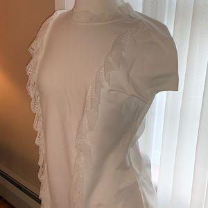 White Ted Baker t-shirt with lace ruffle sz 3